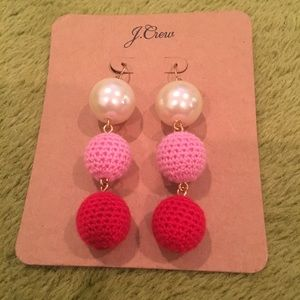 J. Crew Pink Red and Pearl Dangle Earrings NWT